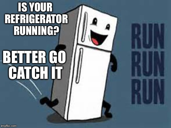 IS YOUR REFRIGERATOR RUNNING? BETTER GO CATCH IT | made w/ Imgflip meme maker