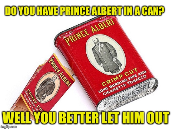 DO YOU HAVE PRINCE ALBERT IN A CAN? WELL YOU BETTER LET HIM OUT | made w/ Imgflip meme maker