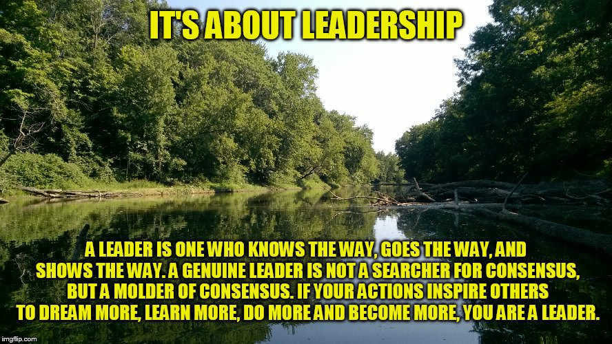 Are you a leader or a follower? | IT'S ABOUT LEADERSHIP A LEADER IS ONE WHO KNOWS THE WAY, GOES THE WAY, AND SHOWS THE WAY. A GENUINE LEADER IS NOT A SEARCHER FOR CONSENSUS,  | image tagged in inspirational quote,memes | made w/ Imgflip meme maker