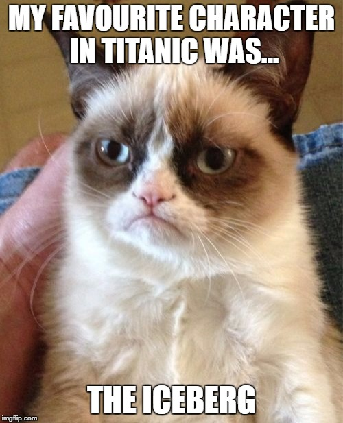 Grumpy Cat Meme | MY FAVOURITE CHARACTER IN TITANIC WAS... THE ICEBERG | image tagged in memes,grumpy cat | made w/ Imgflip meme maker