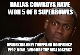 Redskins |  DALLAS COWBOYS HAVE WON 5 OF 8 SUPERBOWLS; DEADSKINS ONLY THREE AND NONE SINCE 1992. NOW...WHO ARE THE REAL LOSERS? | image tagged in redskins,deadskins,dallas cowboys | made w/ Imgflip meme maker