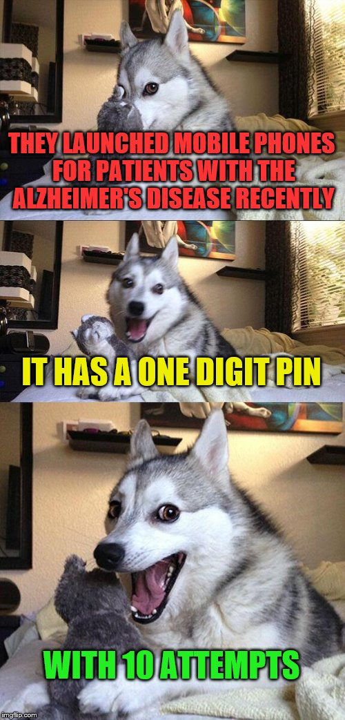 Bad Pun Dog Meme | THEY LAUNCHED MOBILE PHONES FOR PATIENTS WITH THE ALZHEIMER'S DISEASE RECENTLY IT HAS A ONE DIGIT PIN WITH 10 ATTEMPTS | image tagged in memes,bad pun dog | made w/ Imgflip meme maker