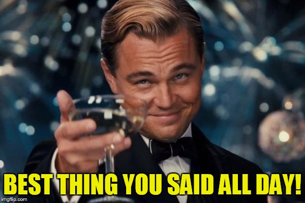 Leonardo Dicaprio Cheers Meme | BEST THING YOU SAID ALL DAY! | image tagged in memes,leonardo dicaprio cheers | made w/ Imgflip meme maker