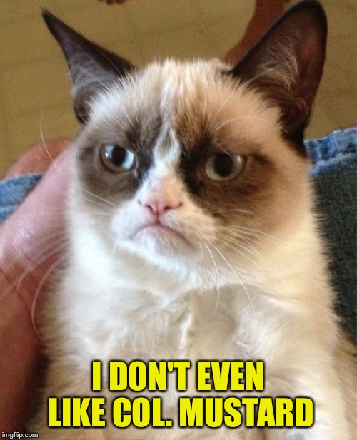 Grumpy Cat Meme | I DON'T EVEN LIKE COL. MUSTARD | image tagged in memes,grumpy cat | made w/ Imgflip meme maker