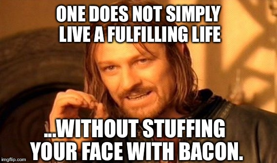 One Does Not Simply Meme | ONE DOES NOT SIMPLY LIVE A FULFILLING LIFE ...WITHOUT STUFFING YOUR FACE WITH BACON. | image tagged in memes,one does not simply | made w/ Imgflip meme maker