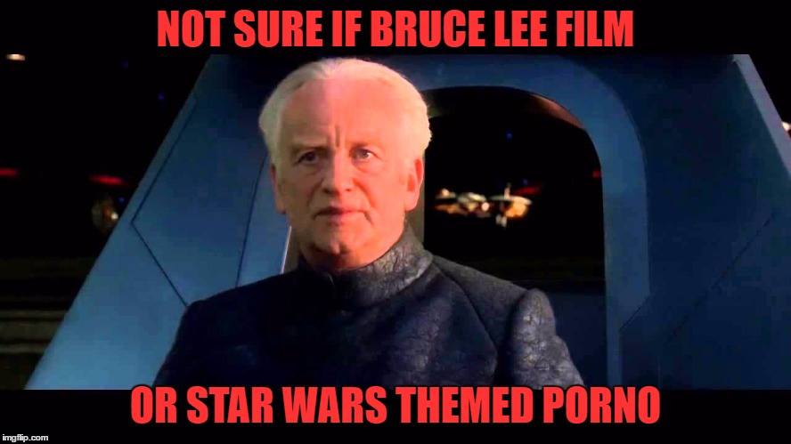 NOT SURE IF BRUCE LEE FILM OR STAR WARS THEMED PORNO | made w/ Imgflip meme maker