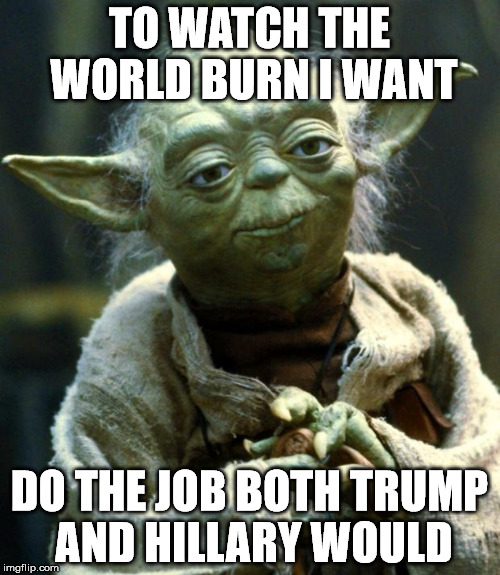 Star Wars Yoda Meme | TO WATCH THE WORLD BURN I WANT DO THE JOB BOTH TRUMP AND HILLARY WOULD | image tagged in memes,star wars yoda | made w/ Imgflip meme maker