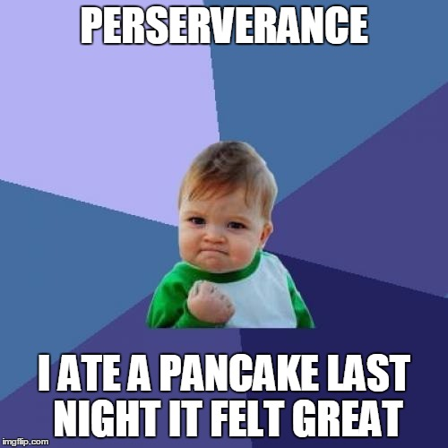Success Kid | PERSERVERANCE I ATE A PANCAKE LAST NIGHT IT FELT GREAT | image tagged in memes,success kid | made w/ Imgflip meme maker