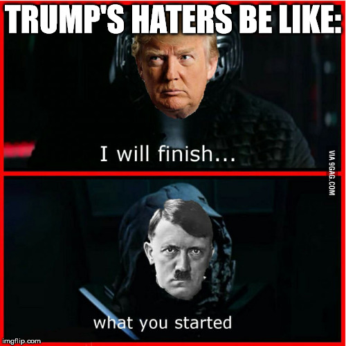 Trump and Hitler | TRUMP'S HATERS BE LIKE: | image tagged in memes,welcome back,hitler,trump,9gag | made w/ Imgflip meme maker