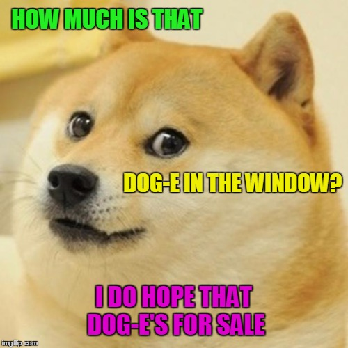 Doge Meme | HOW MUCH IS THAT DOG-E IN THE WINDOW? I DO HOPE THAT DOG-E'S FOR SALE | image tagged in memes,doge | made w/ Imgflip meme maker
