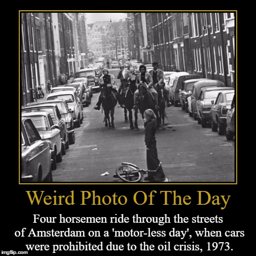 Looks Like The Opening Of A Post Apocalyptic Movie | Weird Photo Of The Day | Four horsemen ride through the streets of Amsterdam on a 'motor-less day', when cars were prohibited due to the oil | image tagged in funny,demotivationals,weird,photo of the day,amsterdam,animals | made w/ Imgflip demotivational maker