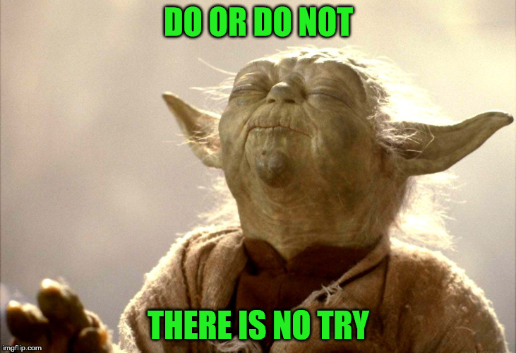 Yoda Is Very Pleased | DO OR DO NOT THERE IS NO TRY | image tagged in yoda is very pleased | made w/ Imgflip meme maker