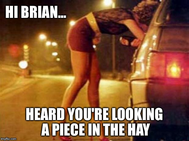 HI BRIAN... HEARD YOU'RE LOOKING A PIECE IN THE HAY | made w/ Imgflip meme maker