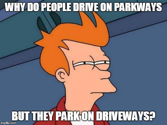 Great Mysteries of Life #229 | WHY DO PEOPLE DRIVE ON PARKWAYS BUT THEY PARK ON DRIVEWAYS? | image tagged in memes,futurama fry,mysteries,wisdom | made w/ Imgflip meme maker