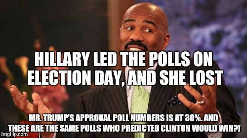 Steve Harvey Meme | MR. TRUMP'S APPROVAL POLL NUMBERS IS AT 30%. AND THESE ARE THE SAME POLLS WHO PREDICTED CLINTON WOULD WIN?! HILLARY LED THE POLLS ON ELECTIO | image tagged in memes,steve harvey | made w/ Imgflip meme maker