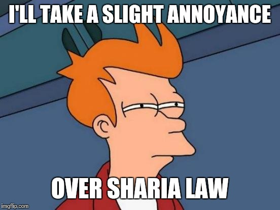 Futurama Fry Meme | I'LL TAKE A SLIGHT ANNOYANCE OVER SHARIA LAW | image tagged in memes,futurama fry | made w/ Imgflip meme maker