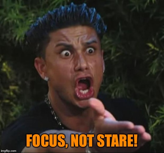 Pauly | FOCUS, NOT STARE! | image tagged in pauly | made w/ Imgflip meme maker