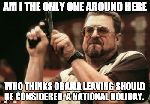 Am I The Only One Around Here Meme | AM I THE ONLY ONE AROUND HERE WHO THINKS OBAMA LEAVING SHOULD BE CONSIDERED  A NATIONAL HOLIDAY. | image tagged in memes,am i the only one around here | made w/ Imgflip meme maker
