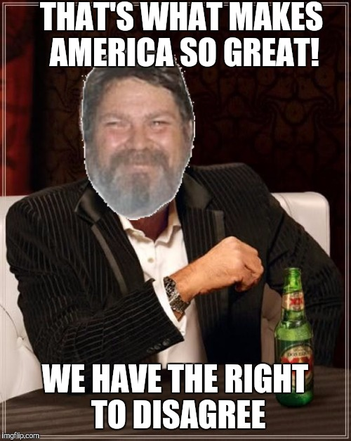 The Most Interesting Man In The World Meme | THAT'S WHAT MAKES AMERICA SO GREAT! WE HAVE THE RIGHT TO DISAGREE | image tagged in memes,the most interesting man in the world | made w/ Imgflip meme maker