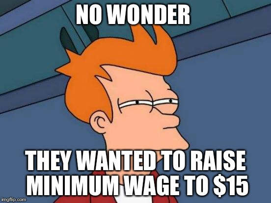 Futurama Fry Meme | NO WONDER THEY WANTED TO RAISE MINIMUM WAGE TO $15 | image tagged in memes,futurama fry | made w/ Imgflip meme maker
