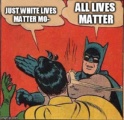 JUST WHITE LIVES MATTER MO- ALL LIVES MATTER | image tagged in memes,batman slapping robin | made w/ Imgflip meme maker