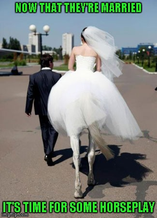 What happens in Vegas stays in Vegas!!! | NOW THAT THEY'RE MARRIED IT'S TIME FOR SOME HORSEPLAY | image tagged in centaur bride,memes,wedding photo,funny,horseplay,funny photo | made w/ Imgflip meme maker