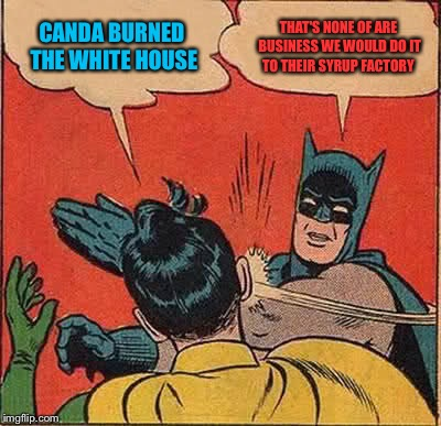 Batman Slapping Robin | CANDA BURNED  THE WHITE HOUSE THAT'S NONE OF ARE BUSINESS WE WOULD DO IT TO THEIR SYRUP FACTORY | image tagged in memes,batman slapping robin | made w/ Imgflip meme maker