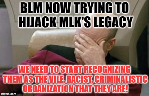 Don't muddy the King's REP! | BLM NOW TRYING TO HIJACK MLK'S LEGACY WE NEED TO START RECOGNIZING THEM AS THE VILE, RACIST, CRIMINALISTIC ORGANIZATION THAT THEY ARE! | image tagged in memes,captain picard facepalm | made w/ Imgflip meme maker