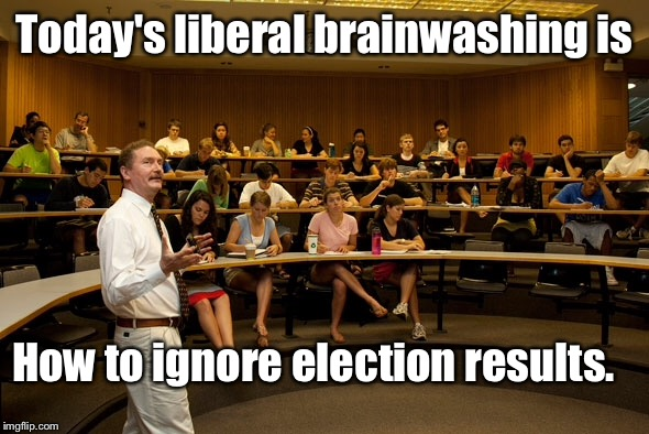 And the temper tantrums continue... | Today's liberal brainwashing is How to ignore election results. | image tagged in memes,election,fit,temper tantrum,protest | made w/ Imgflip meme maker