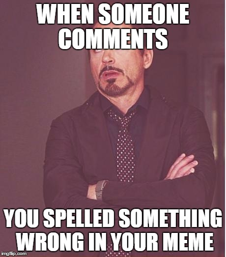 Face You Make Robert Downey Jr | WHEN SOMEONE COMMENTS YOU SPELLED SOMETHING WRONG IN YOUR MEME | image tagged in memes,face you make robert downey jr | made w/ Imgflip meme maker