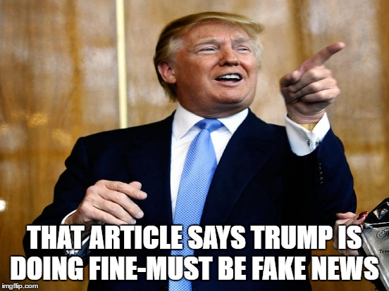 THAT ARTICLE SAYS TRUMP IS DOING FINE-MUST BE FAKE NEWS | made w/ Imgflip meme maker