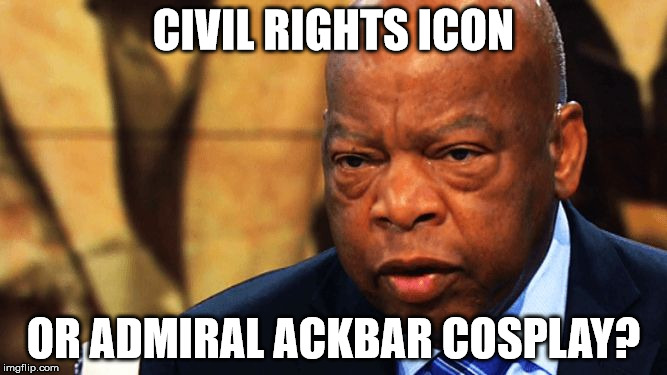 john lewis | CIVIL RIGHTS ICON OR ADMIRAL ACKBAR COSPLAY? | image tagged in john lewis | made w/ Imgflip meme maker