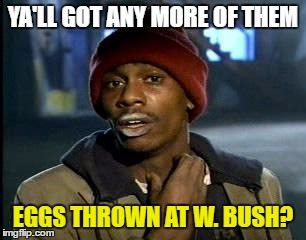 Y'all Got Any More Of That Meme | YA'LL GOT ANY MORE OF THEM EGGS THROWN AT W. BUSH? | image tagged in memes,yall got any more of | made w/ Imgflip meme maker