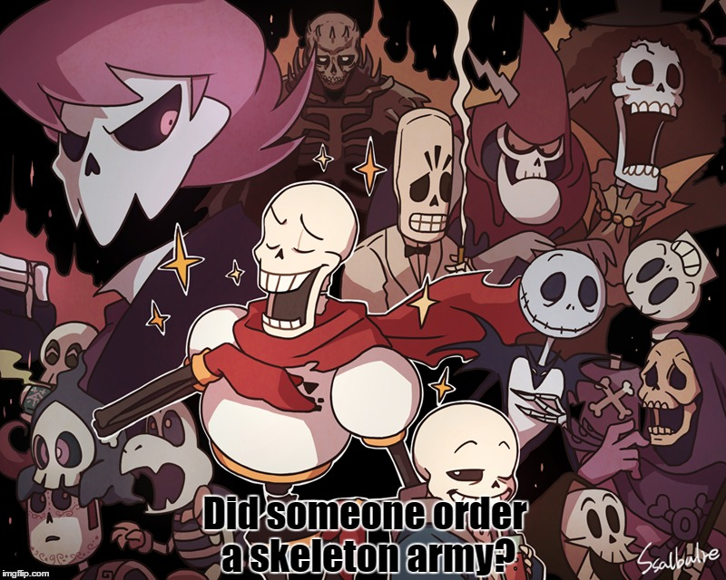 Bones By Ssalbug | Did someone order a skeleton army? | image tagged in deviantart week,deviant art week,crossover,skeleton,army,funny | made w/ Imgflip meme maker