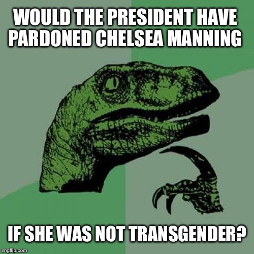 Philosoraptor Meme | WOULD THE PRESIDENT HAVE PARDONED CHELSEA MANNING IF SHE WAS NOT TRANSGENDER? | image tagged in memes,philosoraptor,transgender | made w/ Imgflip meme maker