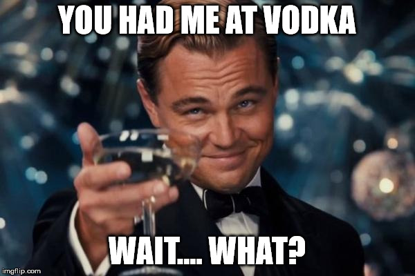 Leonardo Dicaprio Cheers Meme | YOU HAD ME AT VODKA WAIT.... WHAT? | image tagged in memes,leonardo dicaprio cheers | made w/ Imgflip meme maker