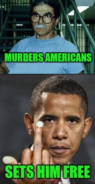Seriously, Anybody Is Better Than Obama | MURDERS AMERICANS SETS HIM FREE | image tagged in dickweed,asshat | made w/ Imgflip meme maker