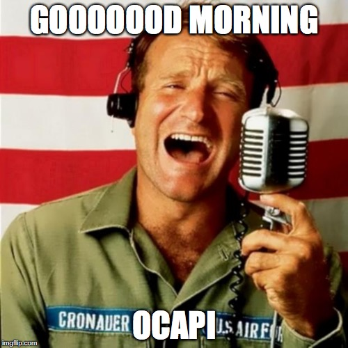 Good Morning Vietnam | GOOOOOOD MORNING OCAPI | image tagged in good morning vietnam | made w/ Imgflip meme maker