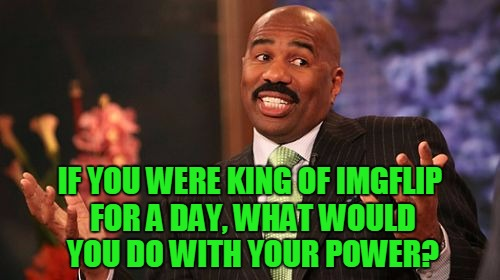 If You Had The Power, What Would You Do With It? | IF YOU WERE KING OF IMGFLIP FOR A DAY, WHAT WOULD YOU DO WITH YOUR POWER? | image tagged in memes,steve harvey,king of imgflip,replies will be slow,i feel like crap today,bleah | made w/ Imgflip meme maker