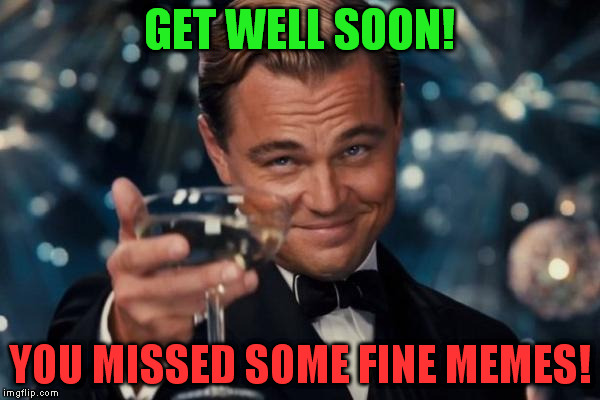 Leonardo Dicaprio Cheers Meme | GET WELL SOON! YOU MISSED SOME FINE MEMES! | image tagged in memes,leonardo dicaprio cheers | made w/ Imgflip meme maker