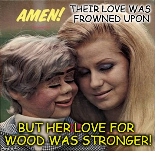 Bad Album Art Week ( Starting today Thursday the 19th until Wednesday the 25th of next week) A KenJ Shabbyrose2 Event  |  THEIR LOVE WAS FROWNED UPON; BUT HER LOVE FOR WOOD WAS STRONGER! | image tagged in bad album art week,memes,puppets,wood,funny,music | made w/ Imgflip meme maker