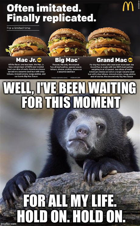 Finally! | WELL, I'VE BEEN WAITING FOR THIS MOMENT FOR ALL MY LIFE. HOLD ON. HOLD ON. | image tagged in memes,mcdonalds,mcdonald's,confession bear | made w/ Imgflip meme maker