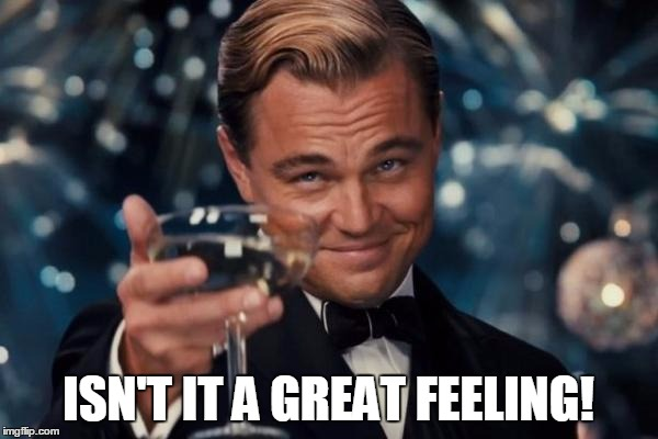 Leonardo Dicaprio Cheers Meme | ISN'T IT A GREAT FEELING! | image tagged in memes,leonardo dicaprio cheers | made w/ Imgflip meme maker