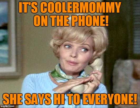 Coolermommy Says Hi! | IT'S COOLERMOMMY ON THE PHONE! SHE SAYS HI TO EVERYONE! | image tagged in memes,coolermommy,coolermommy20,hi everyone,brady bunch,florence henderson | made w/ Imgflip meme maker