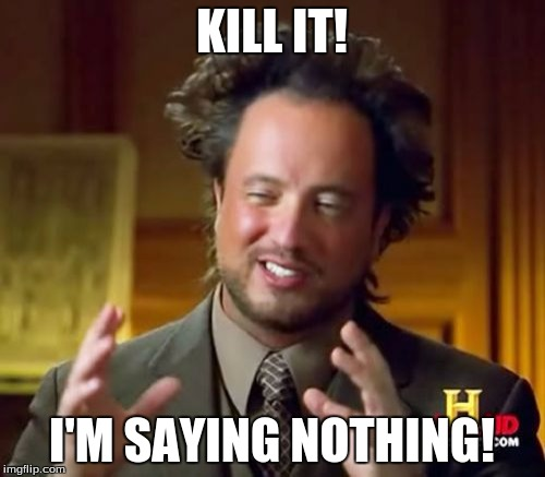 Ancient Aliens Meme | KILL IT! I'M SAYING NOTHING! | image tagged in memes,ancient aliens | made w/ Imgflip meme maker