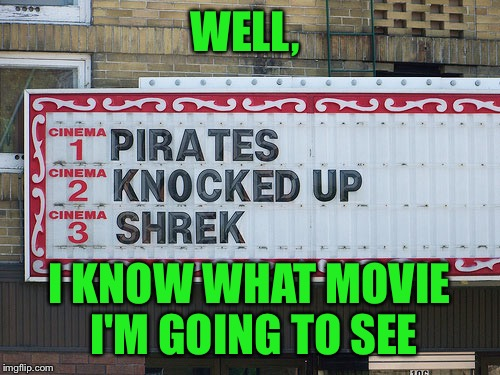 Probably wasn't even on purpose  | WELL, I KNOW WHAT MOVIE I'M GOING TO SEE | image tagged in pirates,shrek,memes,theatre,d | made w/ Imgflip meme maker