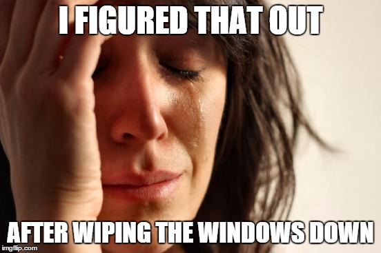 First World Problems Meme | I FIGURED THAT OUT AFTER WIPING THE WINDOWS DOWN | image tagged in memes,first world problems | made w/ Imgflip meme maker