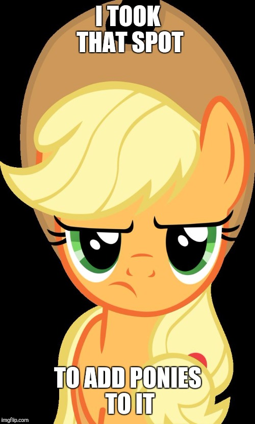 Applejack is not amused | I TOOK THAT SPOT TO ADD PONIES TO IT | image tagged in applejack is not amused | made w/ Imgflip meme maker