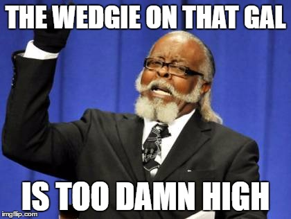 Too Damn High Meme | THE WEDGIE ON THAT GAL IS TOO DAMN HIGH | image tagged in memes,too damn high | made w/ Imgflip meme maker