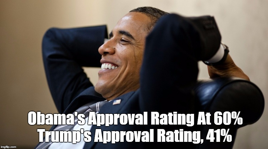 Trump and Obama's Approval Ratings On Eve Of Devious Donald's Inauguration | Obama's Approval Rating At 60% Trump's Approval Rating, 41% | image tagged in trump and obama approval ratings,trump approval rating,obama approval rating | made w/ Imgflip meme maker